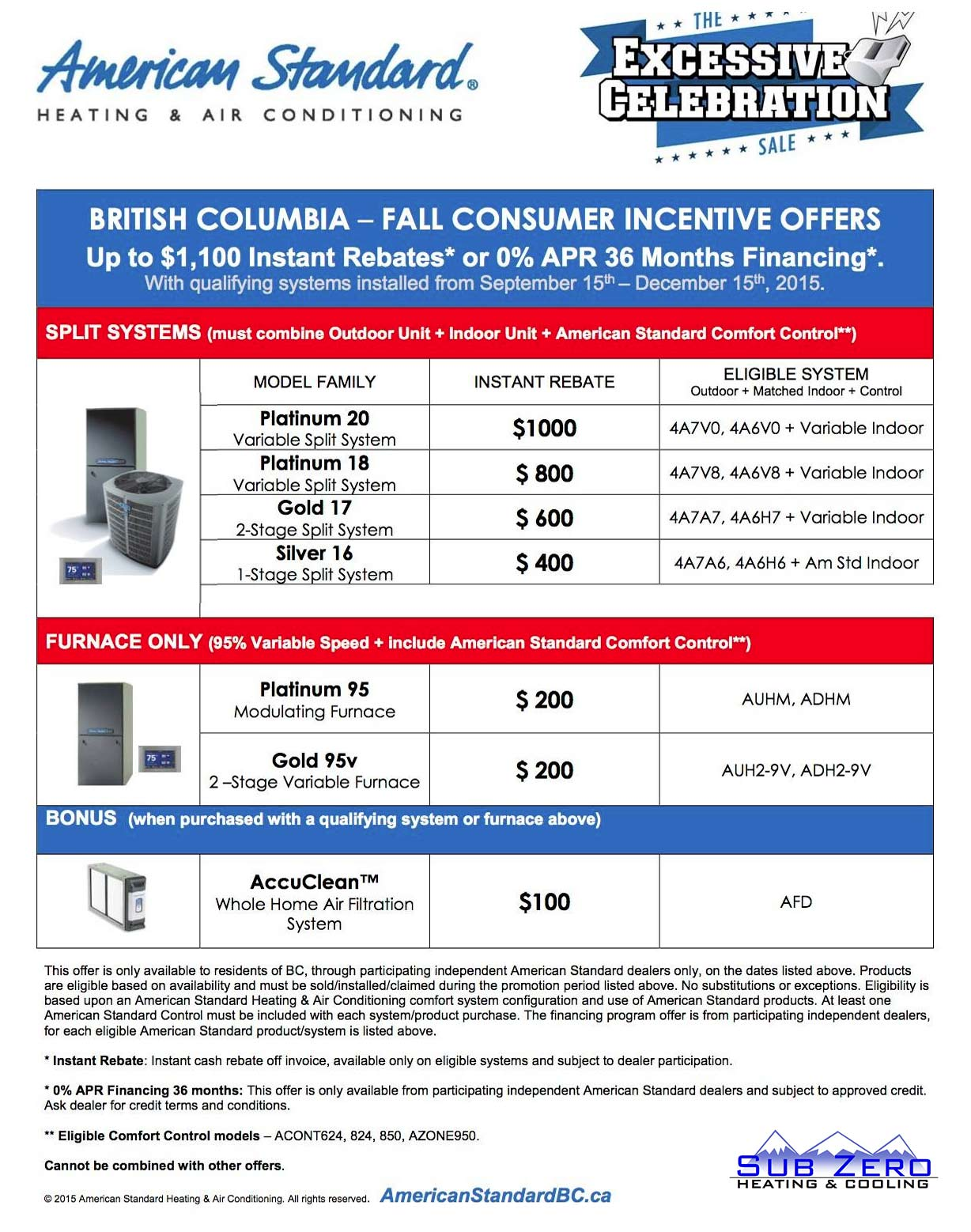 American Standard Rebates Sub Zero Heating And Cooling